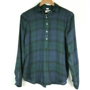 Loft Softened Shirt XS Plaid Half Button Down